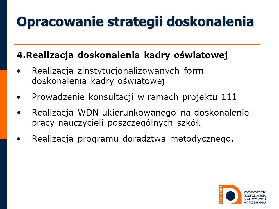 Opracowanie strategii doskonalenia 4.Realizacja doskonalenia kadry oświatowej Realizacja zinstytucjonalizowanych form doskonalenia kadry oświatowej Pr