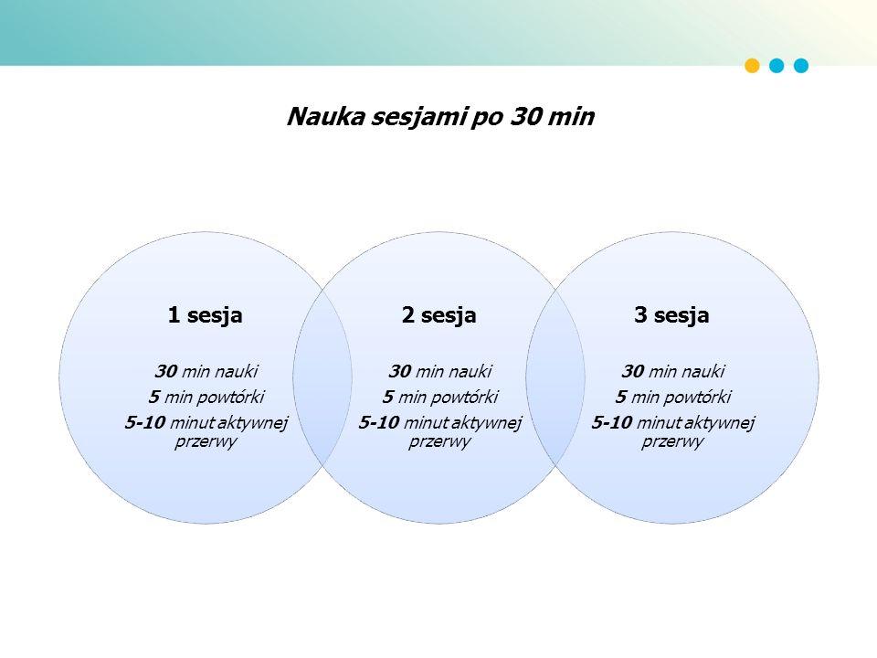 Nauka sesjami po 30 min 1 sesja 30 min nauki 5 min powtórki 5-10 minut aktywnej przerwy 2 sesja 30 min nauki 5 min powtórki 5-10 minut aktywnej przerw