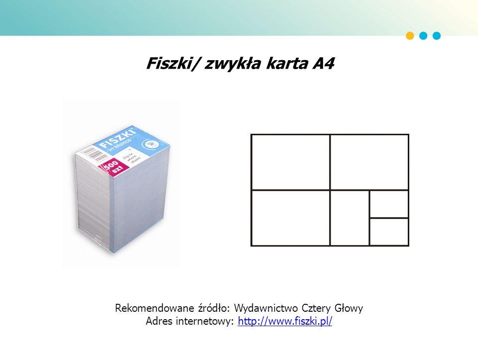 Fiszki/ zwykła karta A4 Rekomendowane źródło: Wydawnictwo Cztery Głowy Adres internetowy: http://www.fiszki.pl/http://www.fiszki.pl/