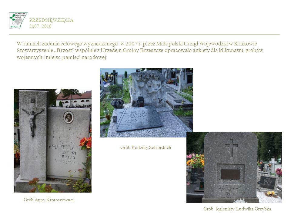 PRZEDSIĘWZIĘCIA 2007 -2010 W ramach zadania celowego wyznaczonego w 2007 r. przez Małopolski Urząd Wojewódzki w Krakowie Stowarzyszenie Brzost wspólni