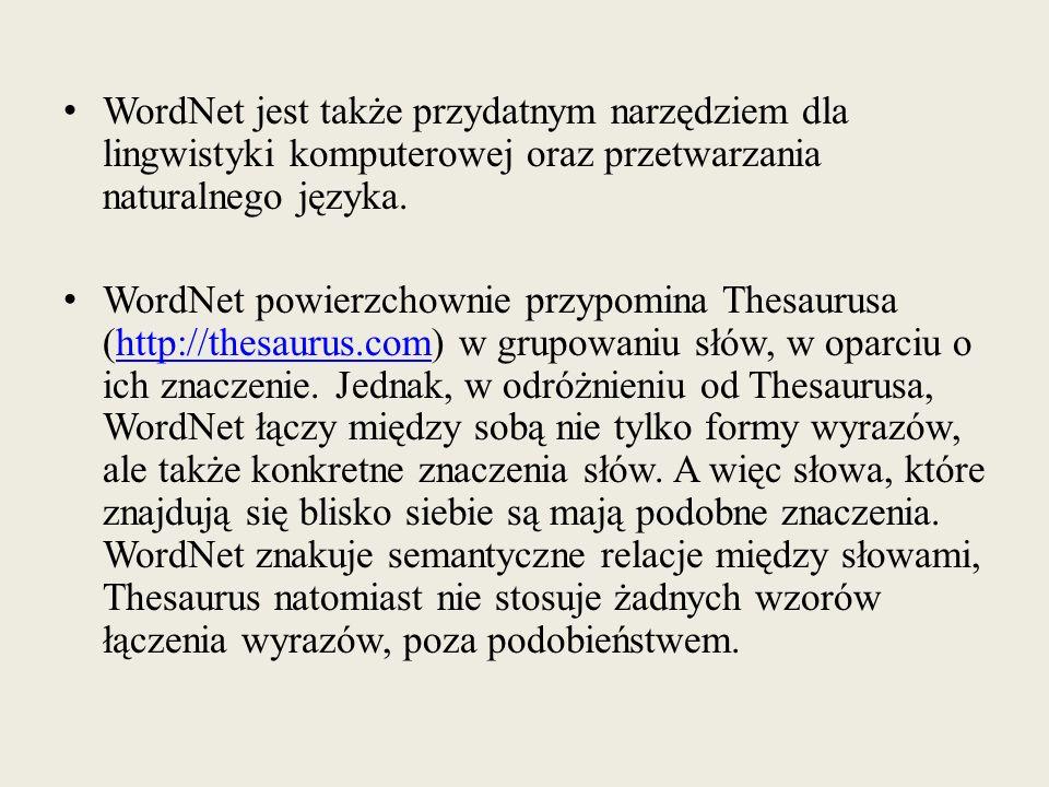 WordNet jest także przydatnym narzędziem dla lingwistyki komputerowej oraz przetwarzania naturalnego języka.