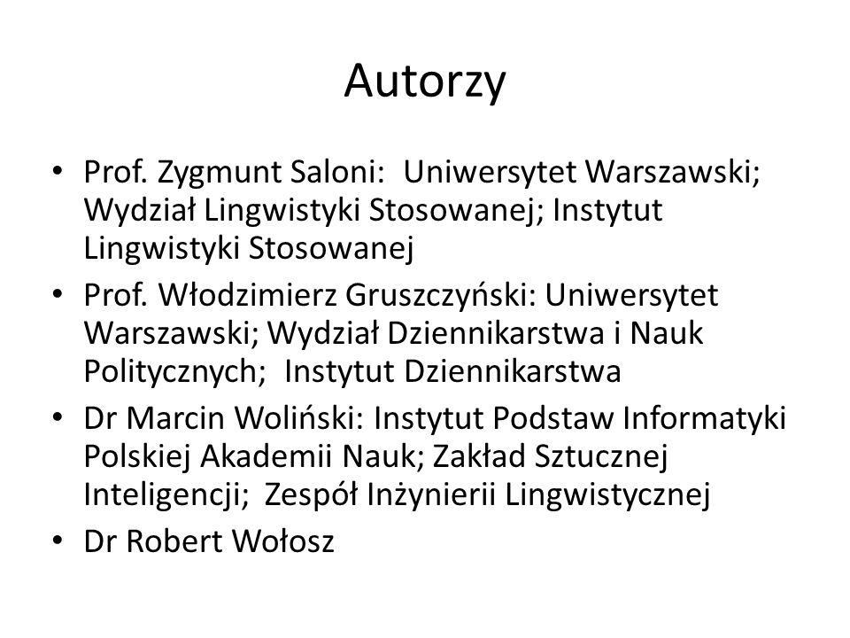 Autorzy Prof. Zygmunt Saloni: Uniwersytet Warszawski; Wydział Lingwistyki Stosowanej; Instytut Lingwistyki Stosowanej Prof. Włodzimierz Gruszczyński: