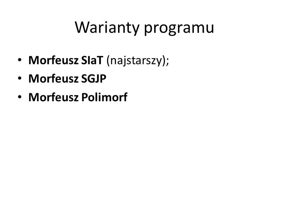 Warianty programu Morfeusz SIaT (najstarszy); Morfeusz SGJP Morfeusz Polimorf