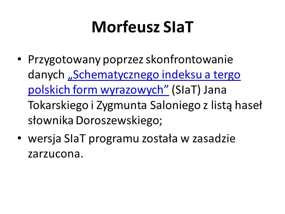 Morfeusz SIaT Przygotowany poprzez skonfrontowanie danych Schematycznego indeksu a tergo polskich form wyrazowych (SIaT) Jana Tokarskiego i Zygmunta S
