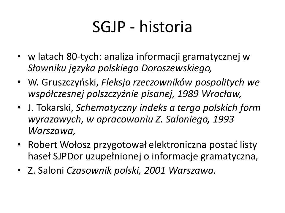 SGJP - historia w latach 80-tych: analiza informacji gramatycznej w Słowniku języka polskiego Doroszewskiego, W. Gruszczyński, Fleksja rzeczowników po