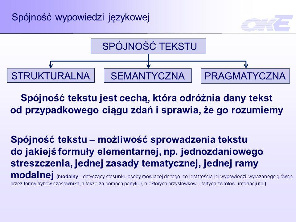 Spójność wypowiedzi językowej Spójność tekstu jest cechą, która odróżnia dany tekst od przypadkowego ciągu zdań i sprawia, że go rozumiemy Spójność te