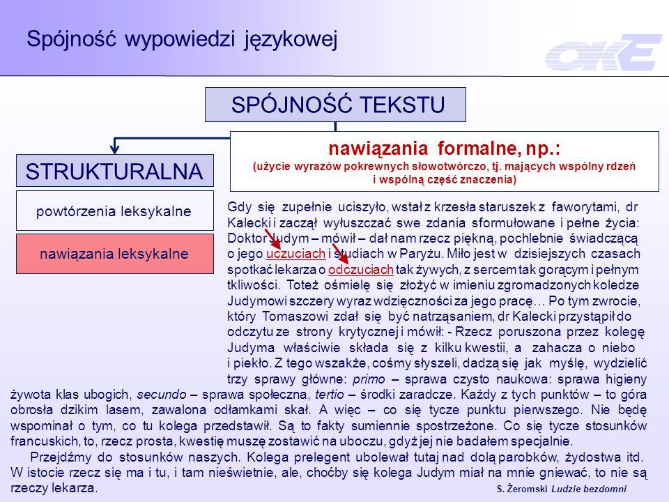 Spójność wypowiedzi językowej SPÓJNOŚĆ TEKSTU SEMANTYCZNA jedność tematyczno - rematyczna STRUKTURALNA powtórzenia leksykalne nawiązania leksykalne zaimki osobowe i wskazujące podmiot domyślny plus końcówka osobowa czasownika metajęzykowe operatory relacji treściowych skonwencjonalizowane opozycje relacji znaczeniowych PRAGMATYCZNA wspólna sytuacja komunikacyjna -Rzecz poruszona przez kolegę Judyma właściwie składa się z kilku kwestii, a zahacza o niebo i piekło.