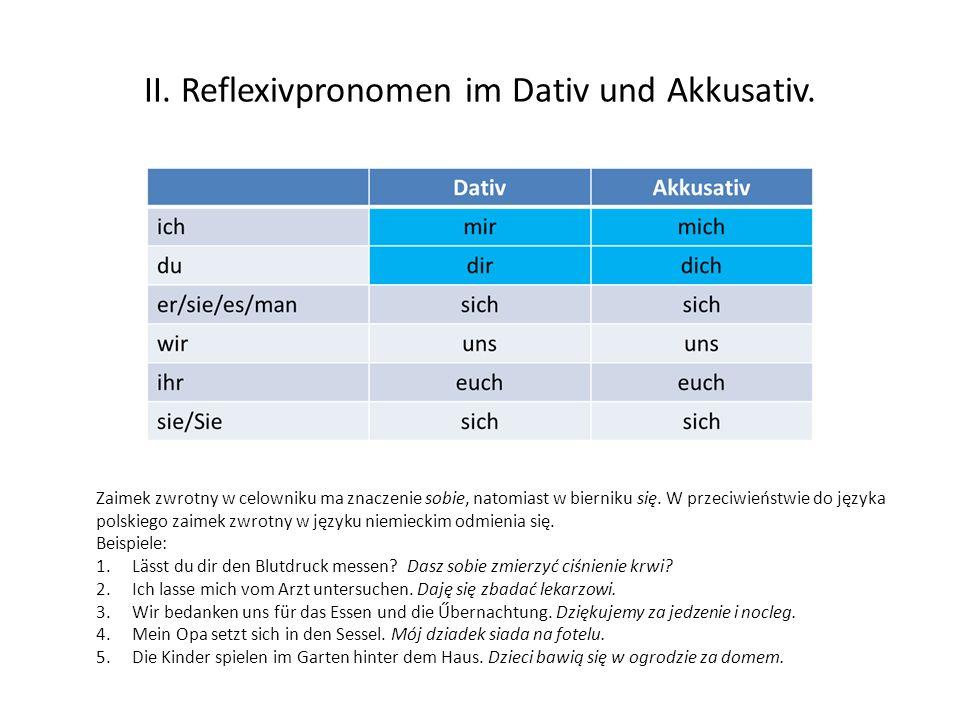 II. Reflexivpronomen im Dativ und Akkusativ. Zaimek zwrotny w celowniku ma znaczenie sobie, natomiast w bierniku się. W przeciwieństwie do języka pols