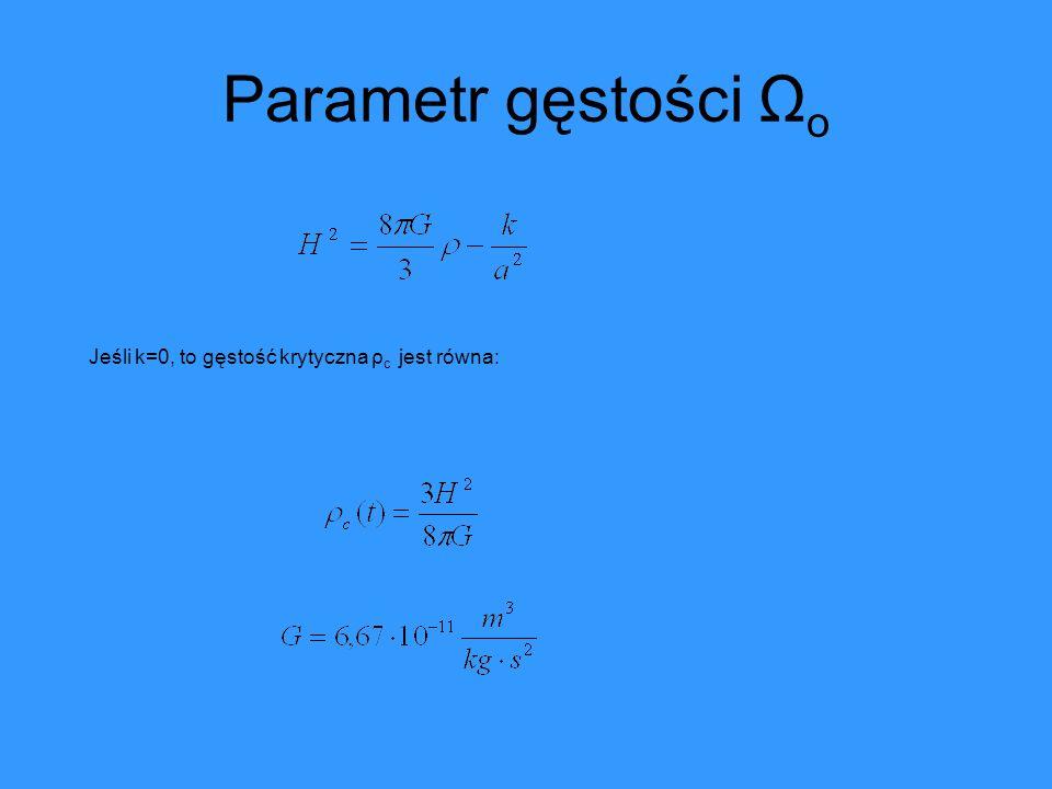 Stała kosmologiczna λ Wprowadzenie członu kosmologicznego λ a.) przez Einsteina b.) obecnie