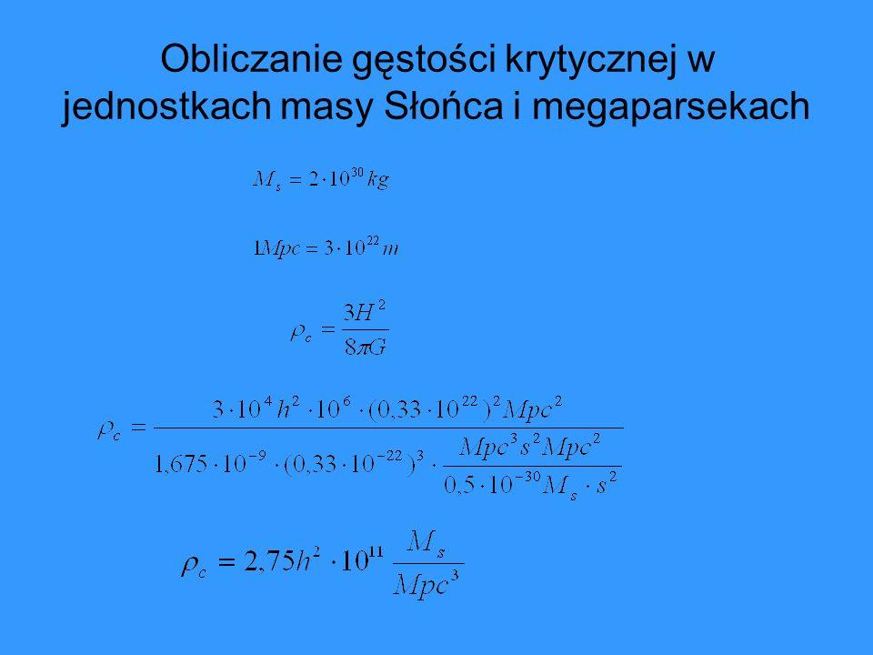 Definicja parametru gęstości Ω Ω o - obecna wartość parametru gęstości