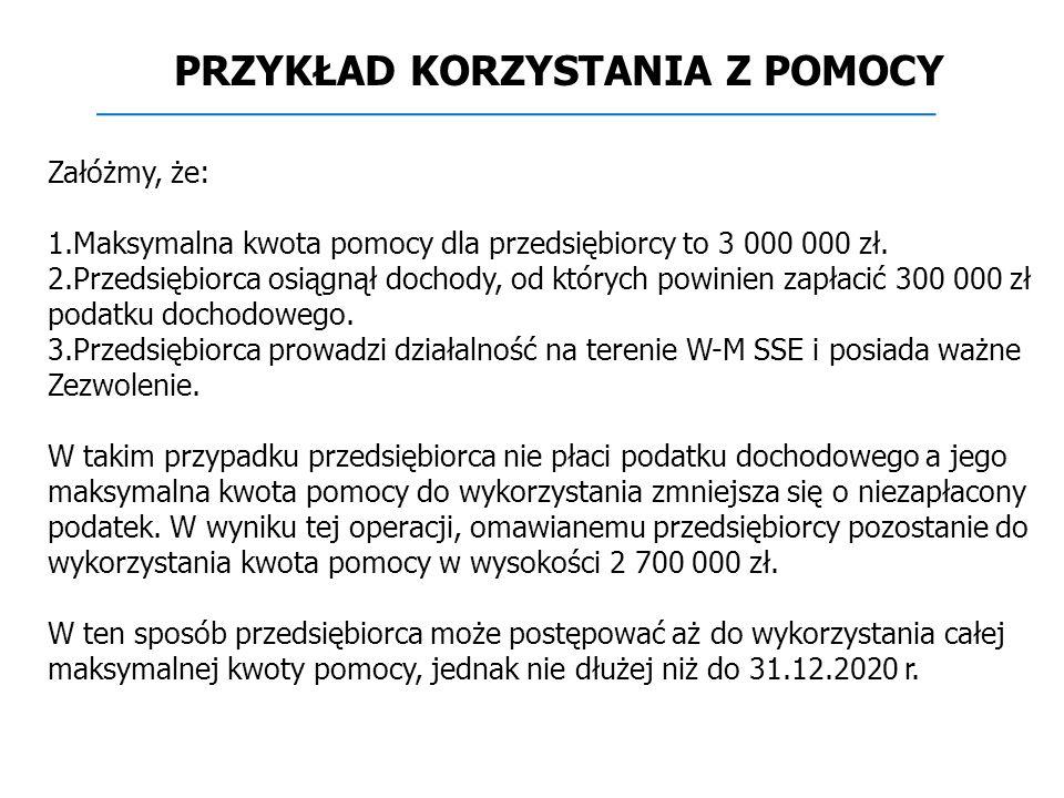 Załóżmy, że: 1.Maksymalna kwota pomocy dla przedsiębiorcy to 3 000 000 zł.