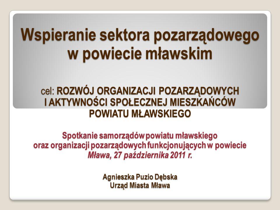 Wspieranie sektora pozarządowego w powiecie mławskim cel: ROZWÓJ ORGANIZACJI POZARZĄDOWYCH I AKTYWNOŚCI SPOŁECZNEJ MIESZKAŃCÓW POWIATU MŁAWSKIEGO Spotkanie samorządów powiatu mławskiego oraz organizacji pozarządowych funkcjonujących w powiecie Mława, 27 października 2011 r.