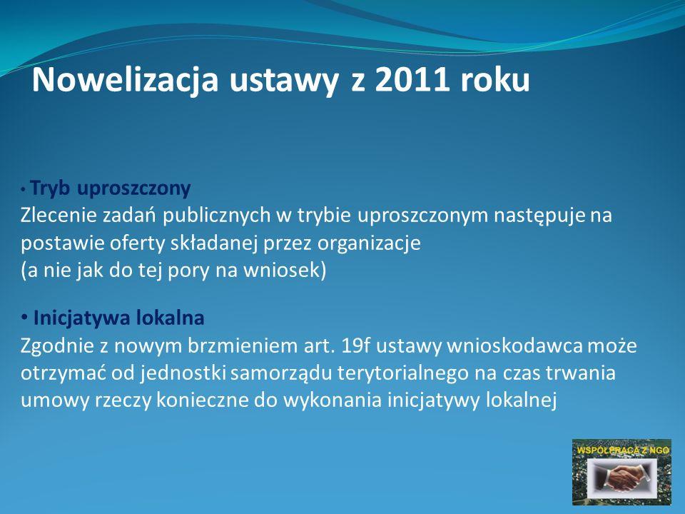 Nowelizacja ustawy z 2011 roku Tryb uproszczony Zlecenie zadań publicznych w trybie uproszczonym następuje na postawie oferty składanej przez organizacje (a nie jak do tej pory na wniosek) Inicjatywa lokalna Zgodnie z nowym brzmieniem art.