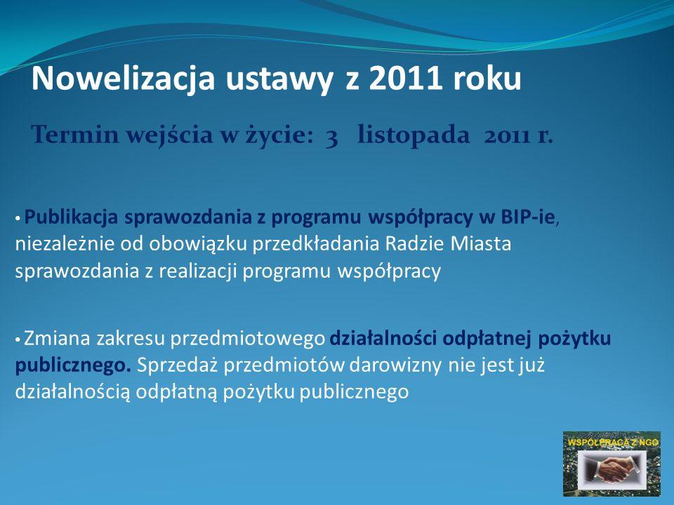 Nowelizacja ustawy z 2011 roku Publikacja sprawozdania z programu współpracy w BIP-ie, niezależnie od obowiązku przedkładania Radzie Miasta sprawozdania z realizacji programu współpracy Zmiana zakresu przedmiotowego działalności odpłatnej pożytku publicznego.