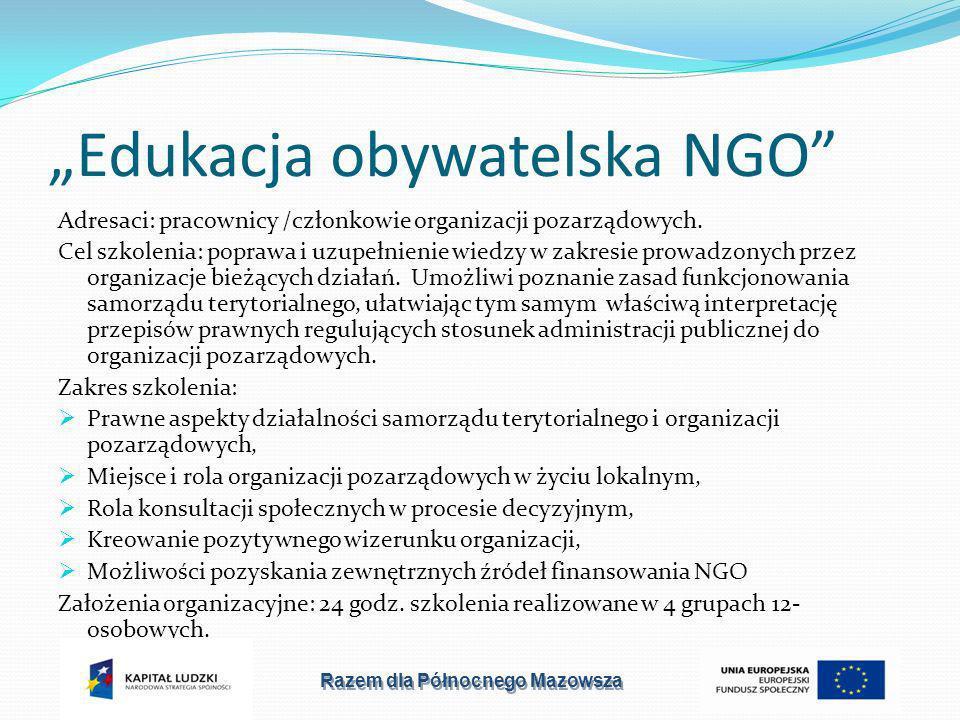Edukacja obywatelska NGO Adresaci: pracownicy /członkowie organizacji pozarządowych.