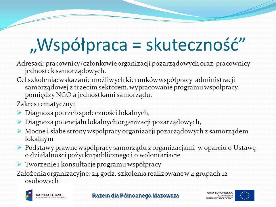 Współpraca = skuteczność Adresaci: pracownicy/członkowie organizacji pozarządowych oraz pracownicy jednostek samorządowych.