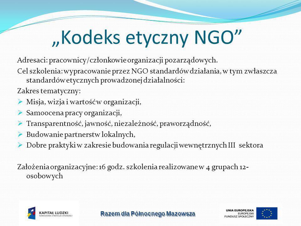 Kodeks etyczny NGO Adresaci: pracownicy/członkowie organizacji pozarządowych.
