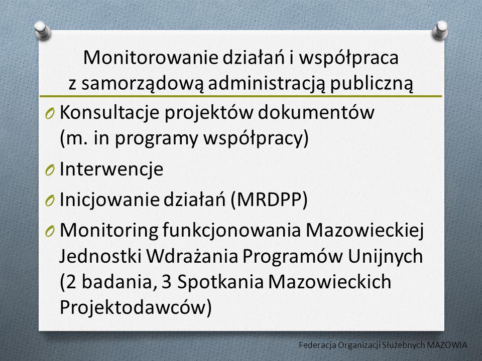 Monitorowanie działań i współpraca z samorządową administracją publiczną O Konsultacje projektów dokumentów (m.