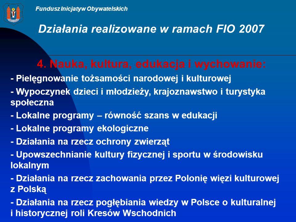 Fundusz Inicjatyw Obywatelskich Działania realizowane w ramach FIO 2007 4.