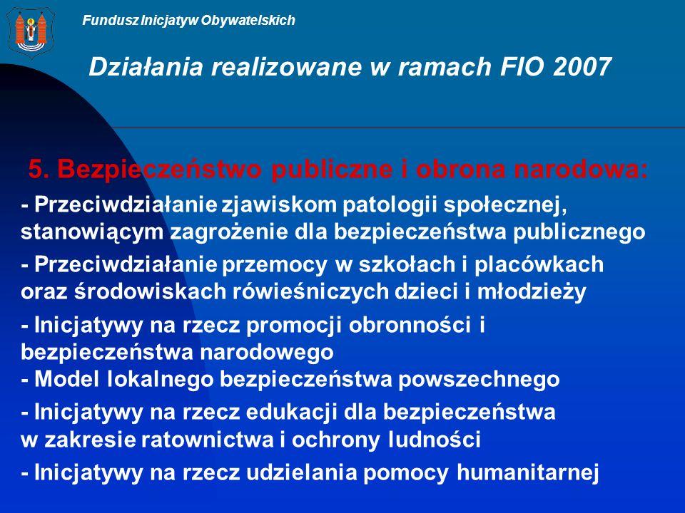Fundusz Inicjatyw Obywatelskich Działania realizowane w ramach FIO 2007 5.