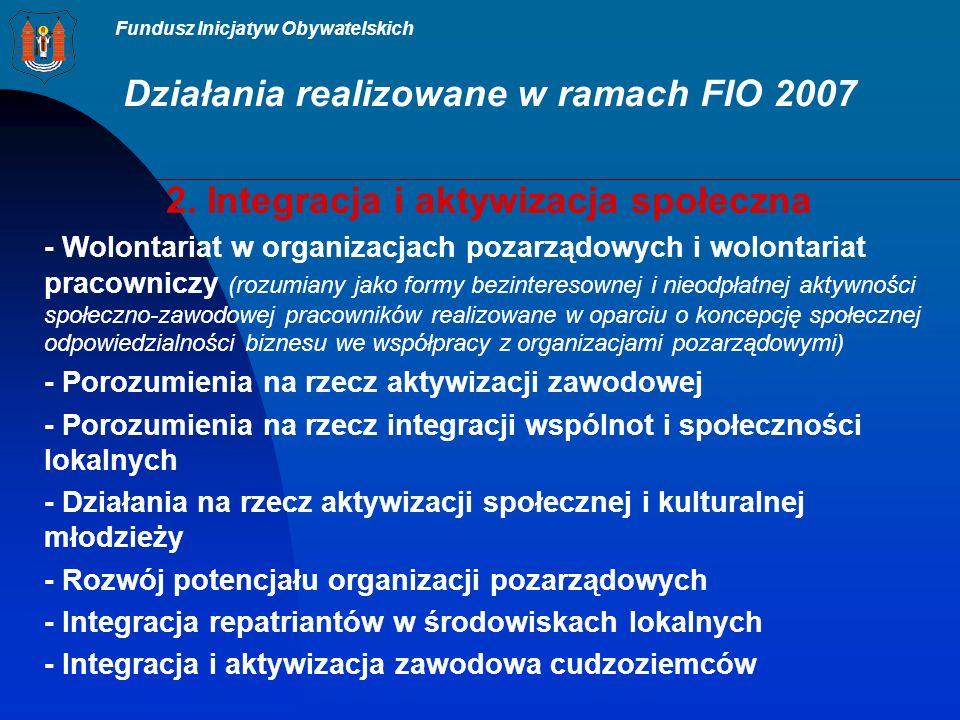 Fundusz Inicjatyw Obywatelskich Działania realizowane w ramach FIO 2007 2.