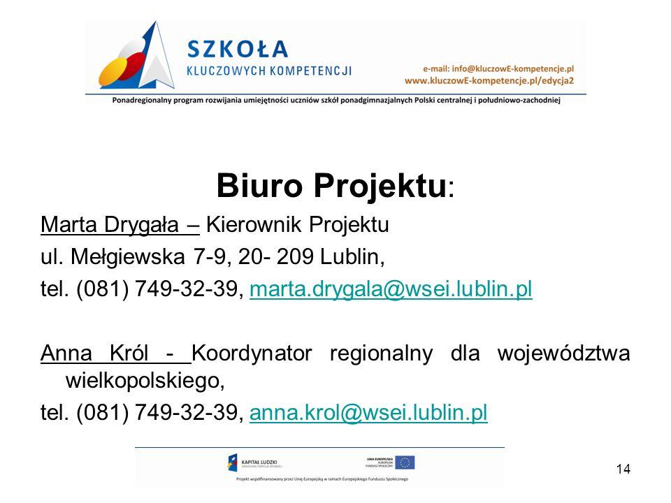 14 Biuro Projektu : Marta Drygała – Kierownik Projektu ul.