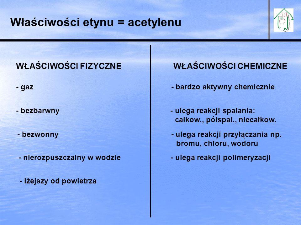 Właściwości etynu = acetylenu WŁAŚCIWOŚCI FIZYCZNE WŁAŚCIWOŚCI CHEMICZNE - gaz - bardzo aktywny chemicznie - bezbarwny - ulega reakcji spalania: całko