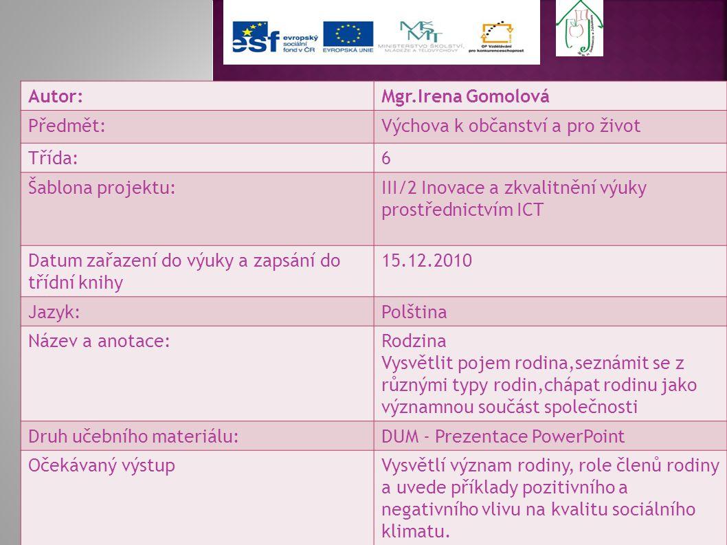 Autor:Mgr.Irena Gomolová Předmět:Výchova k občanství a pro život Třída:6 Šablona projektu:III/2 Inovace a zkvalitnění výuky prostřednictvím ICT Datum