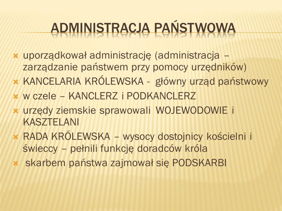 uporządkował administrację (administracja – zarządzanie państwem przy pomocy urzędników) KANCELARIA KRÓLEWSKA - główny urząd państwowy w czele – KANCLERZ i PODKANCLERZ urzędy ziemskie sprawowali WOJEWODOWIE i KASZTELANI RADA KRÓLEWSKA – wysocy dostojnicy kościelni i świeccy – pełnili funkcję doradców króla skarbem państwa zajmował się PODSKARBI