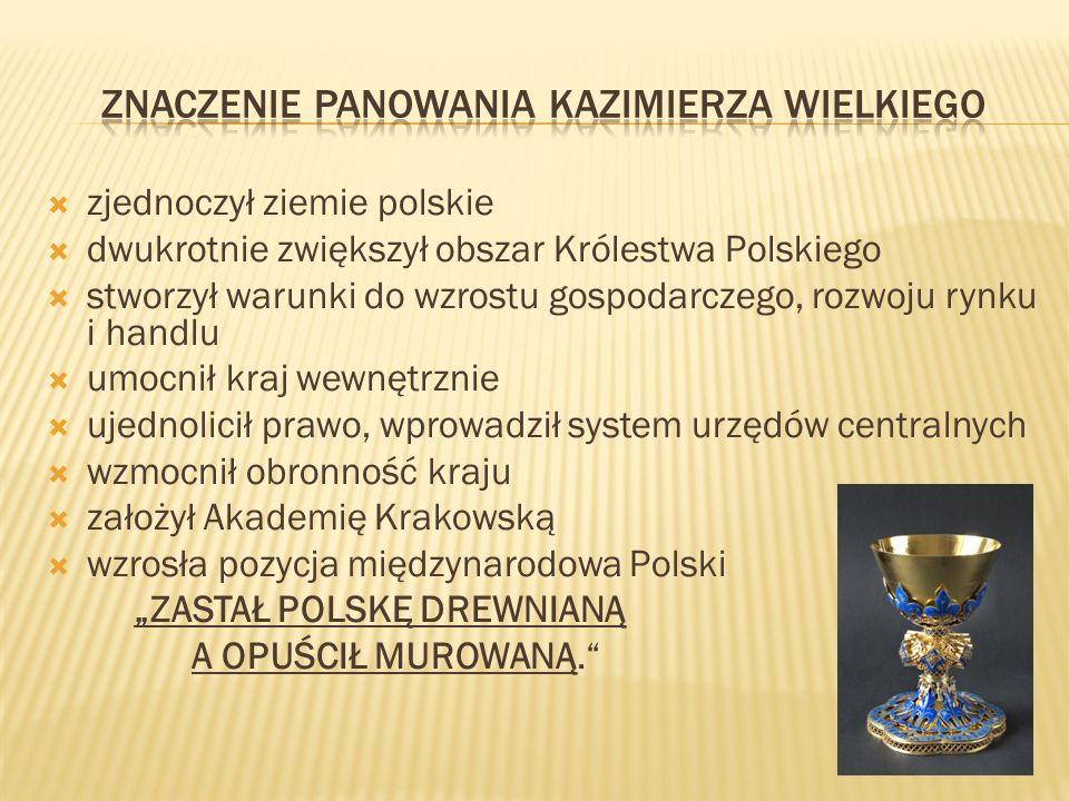zjednoczył ziemie polskie dwukrotnie zwiększył obszar Królestwa Polskiego stworzył warunki do wzrostu gospodarczego, rozwoju rynku i handlu umocnił kraj wewnętrznie ujednolicił prawo, wprowadził system urzędów centralnych wzmocnił obronność kraju założył Akademię Krakowską wzrosła pozycja międzynarodowa Polski ZASTAŁ POLSKĘ DREWNIANĄ A OPUŚCIŁ MUROWANĄ.