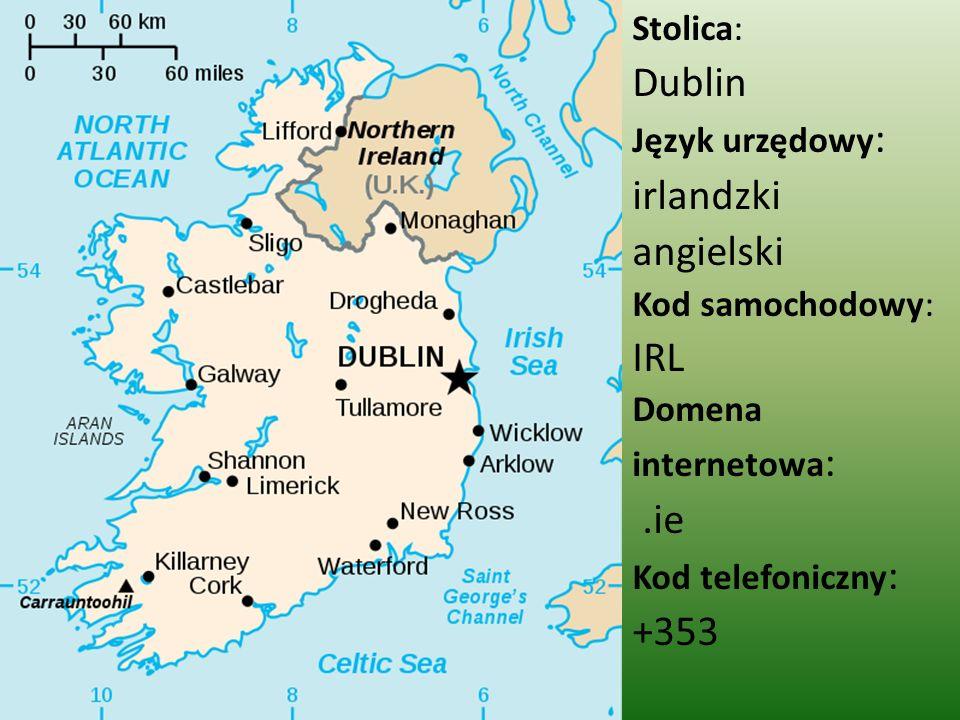 Stolica: Dublin Język urzędowy : irlandzki angielski Kod samochodowy: IRL Domena internetowa :.ie Kod telefoniczny : +353