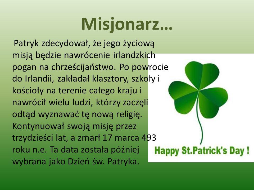 Misjonarz… Patryk zdecydował, że jego życiową misją będzie nawrócenie irlandzkich pogan na chrześcijaństwo. Po powrocie do Irlandii, zakładał klasztor