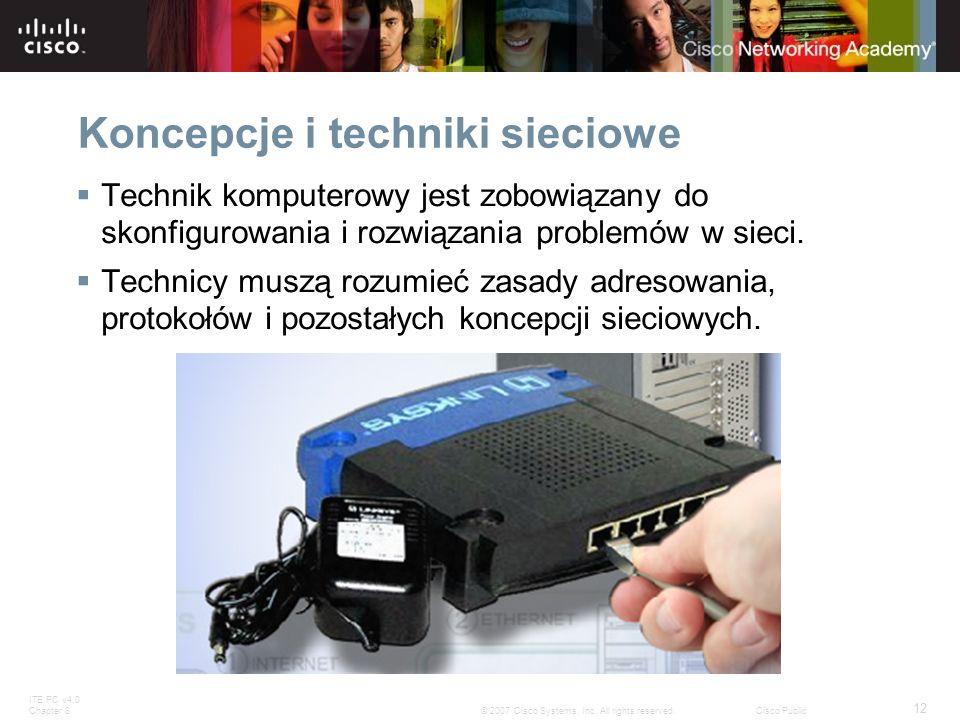 ITE PC v4.0 Chapter 8 12 © 2007 Cisco Systems, Inc. All rights reserved.Cisco Public Koncepcje i techniki sieciowe Technik komputerowy jest zobowiązan