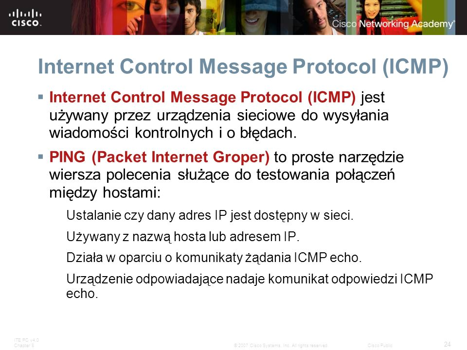 ITE PC v4.0 Chapter 8 24 © 2007 Cisco Systems, Inc. All rights reserved.Cisco Public Internet Control Message Protocol (ICMP) Internet Control Message