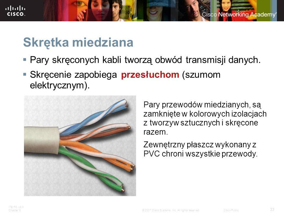 ITE PC v4.0 Chapter 8 33 © 2007 Cisco Systems, Inc. All rights reserved.Cisco Public Skrętka miedziana Pary skręconych kabli tworzą obwód transmisji d