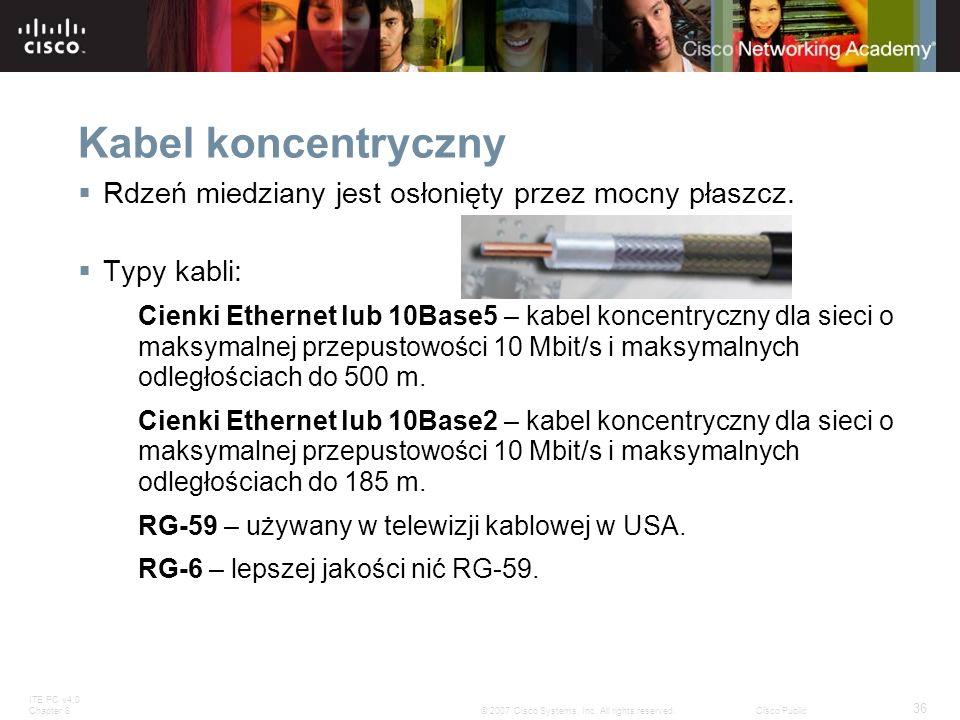 ITE PC v4.0 Chapter 8 36 © 2007 Cisco Systems, Inc. All rights reserved.Cisco Public Kabel koncentryczny Rdzeń miedziany jest osłonięty przez mocny pł