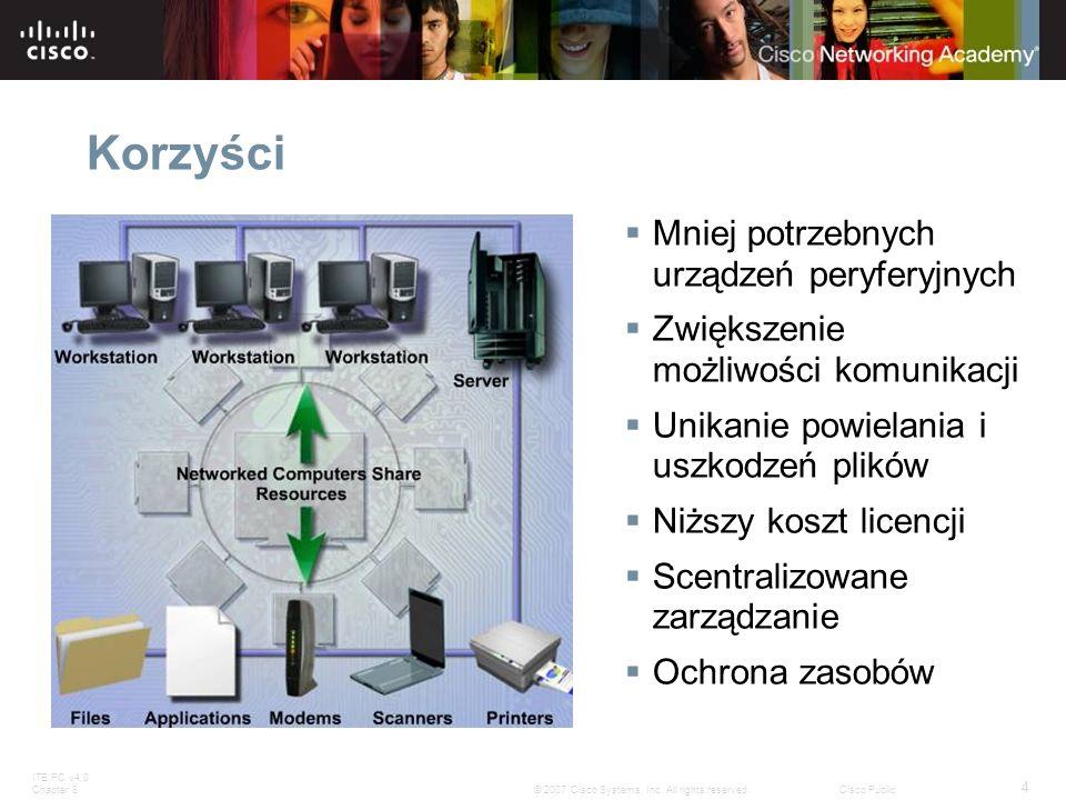 ITE PC v4.0 Chapter 8 4 © 2007 Cisco Systems, Inc. All rights reserved.Cisco Public Korzyści Mniej potrzebnych urządzeń peryferyjnych Zwiększenie możl