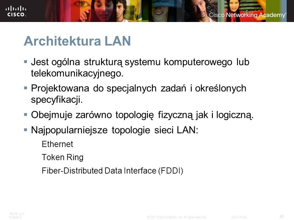 ITE PC v4.0 Chapter 8 46 © 2007 Cisco Systems, Inc. All rights reserved.Cisco Public Architektura LAN Jest ogólna strukturą systemu komputerowego lub