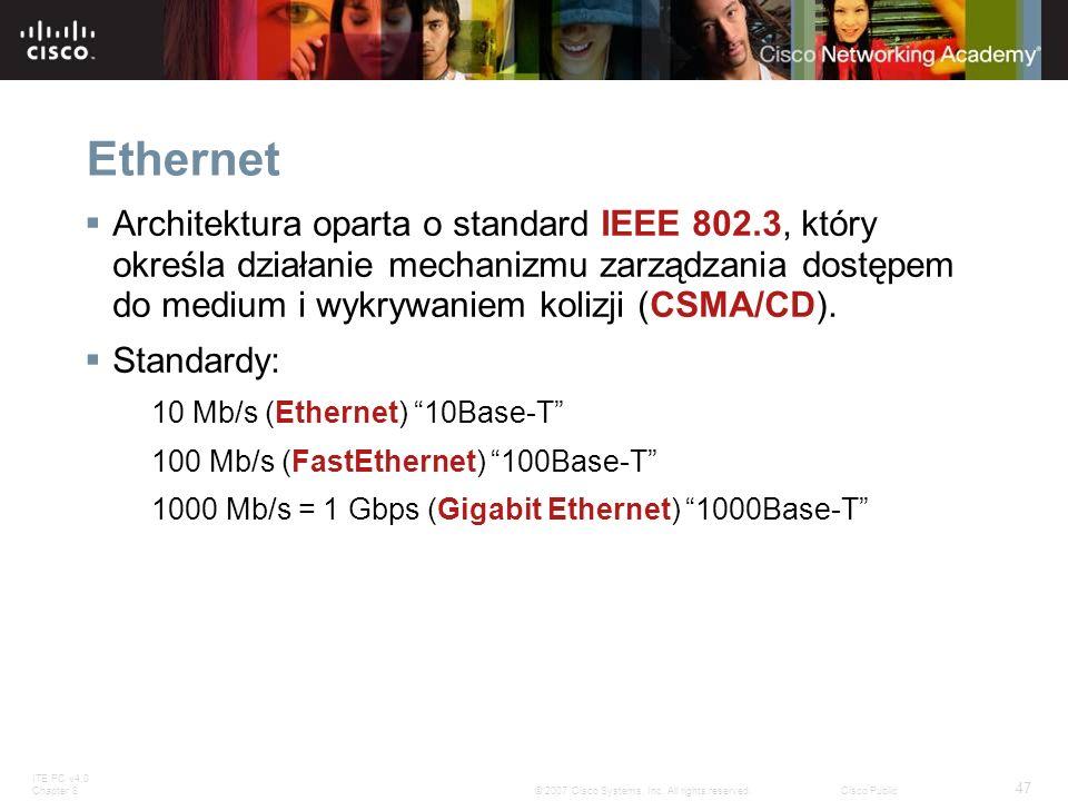 ITE PC v4.0 Chapter 8 47 © 2007 Cisco Systems, Inc. All rights reserved.Cisco Public Ethernet Architektura oparta o standard IEEE 802.3, który określa