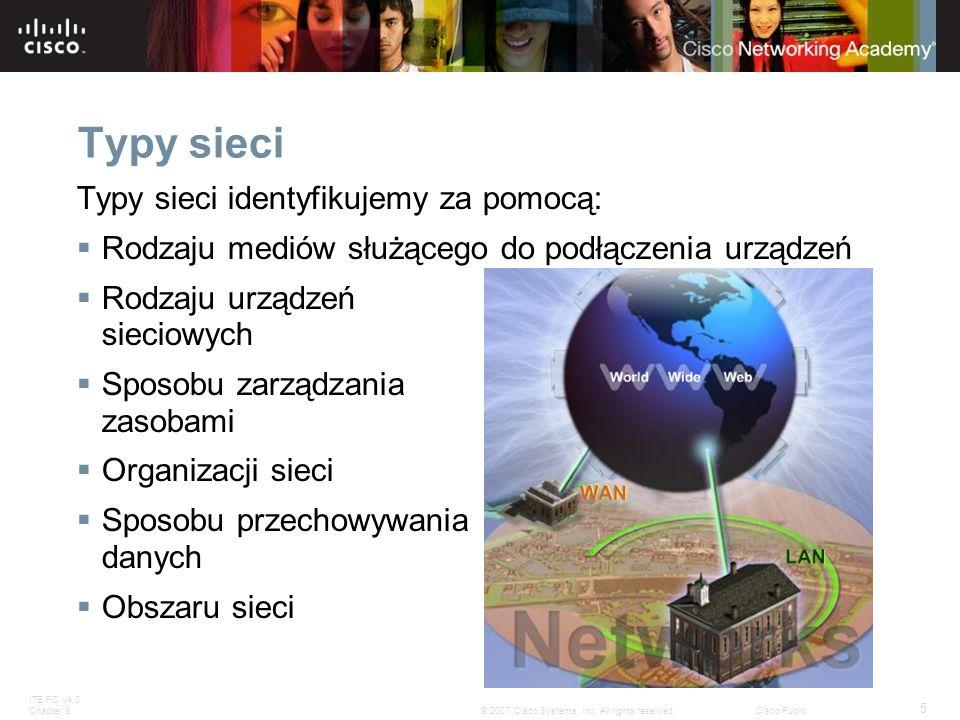 ITE PC v4.0 Chapter 8 5 © 2007 Cisco Systems, Inc. All rights reserved.Cisco Public Typy sieci Typy sieci identyfikujemy za pomocą: Rodzaju mediów słu