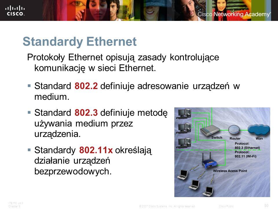 ITE PC v4.0 Chapter 8 50 © 2007 Cisco Systems, Inc. All rights reserved.Cisco Public Standardy Ethernet Protokoły Ethernet opisują zasady kontrolujące