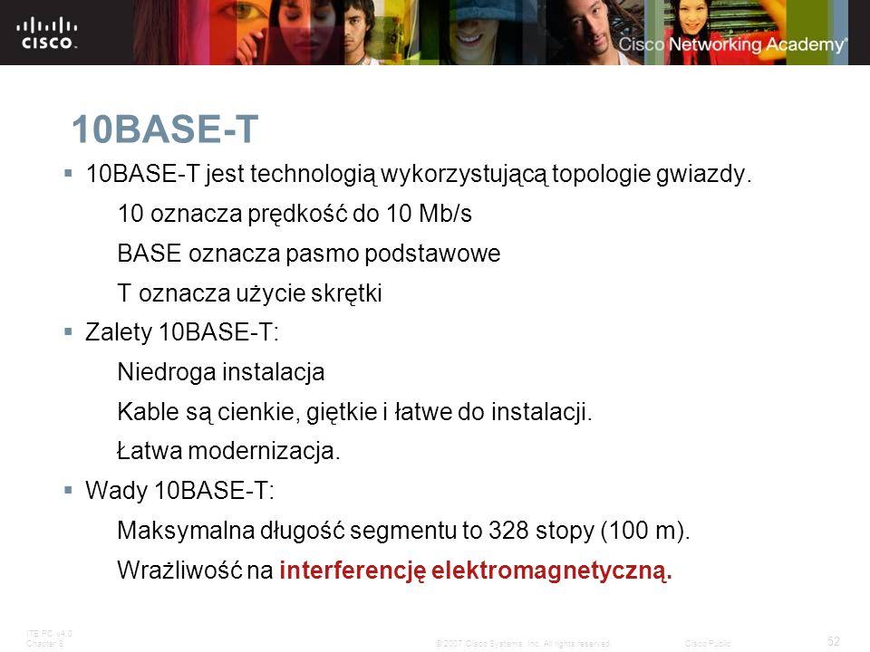 ITE PC v4.0 Chapter 8 52 © 2007 Cisco Systems, Inc. All rights reserved.Cisco Public 10BASE-T 10BASE-T jest technologią wykorzystującą topologie gwiaz
