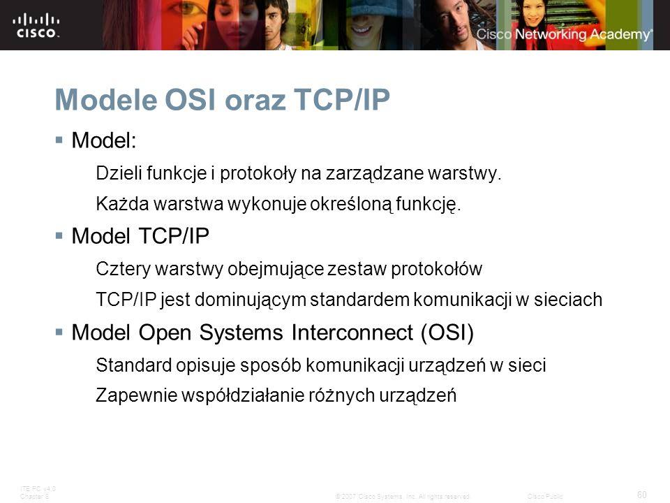 ITE PC v4.0 Chapter 8 60 © 2007 Cisco Systems, Inc. All rights reserved.Cisco Public Modele OSI oraz TCP/IP Model: Dzieli funkcje i protokoły na zarzą