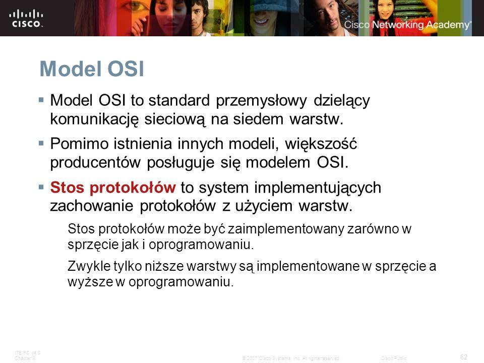 ITE PC v4.0 Chapter 8 62 © 2007 Cisco Systems, Inc. All rights reserved.Cisco Public Model OSI Model OSI to standard przemysłowy dzielący komunikację