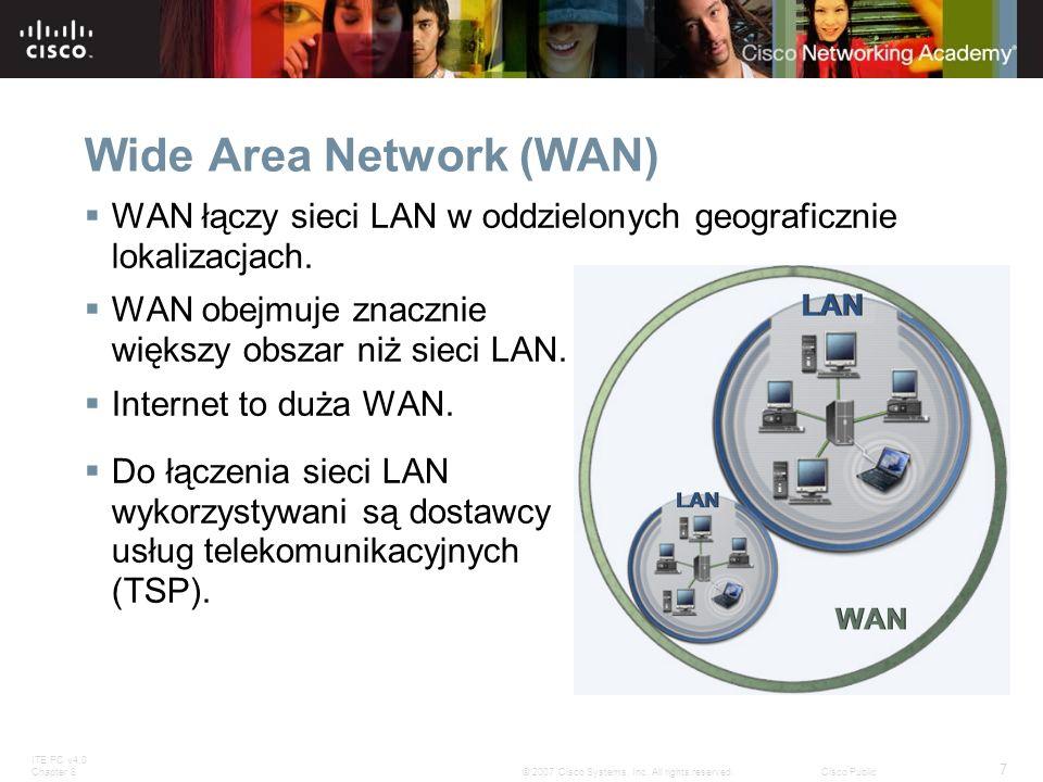 ITE PC v4.0 Chapter 8 7 © 2007 Cisco Systems, Inc. All rights reserved.Cisco Public Wide Area Network (WAN) WAN łączy sieci LAN w oddzielonych geograf