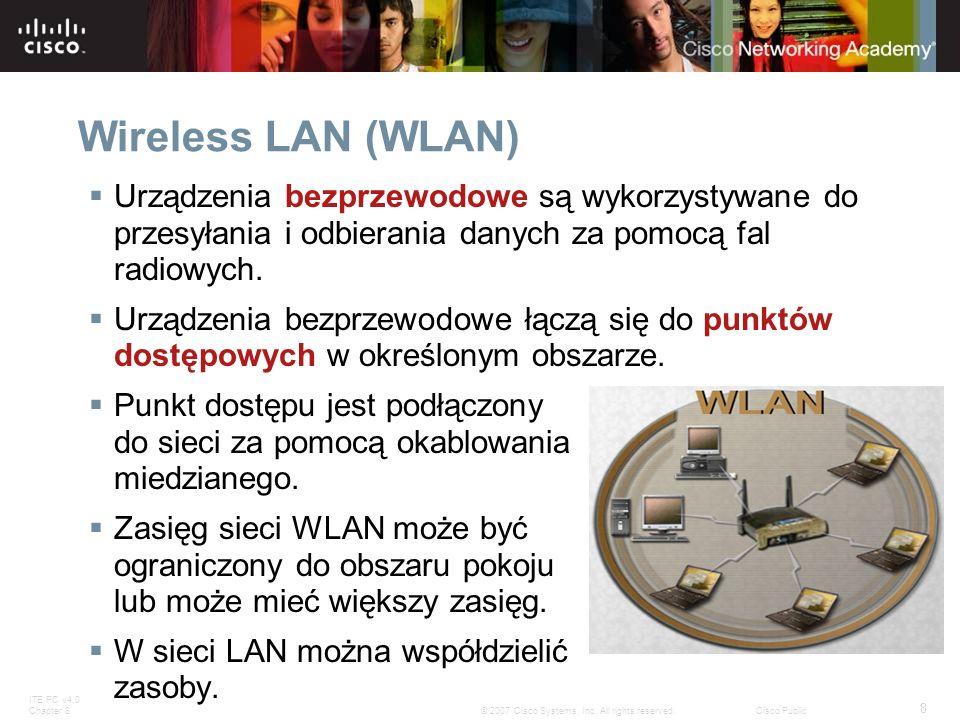 ITE PC v4.0 Chapter 8 8 © 2007 Cisco Systems, Inc. All rights reserved.Cisco Public Wireless LAN (WLAN) Urządzenia bezprzewodowe są wykorzystywane do