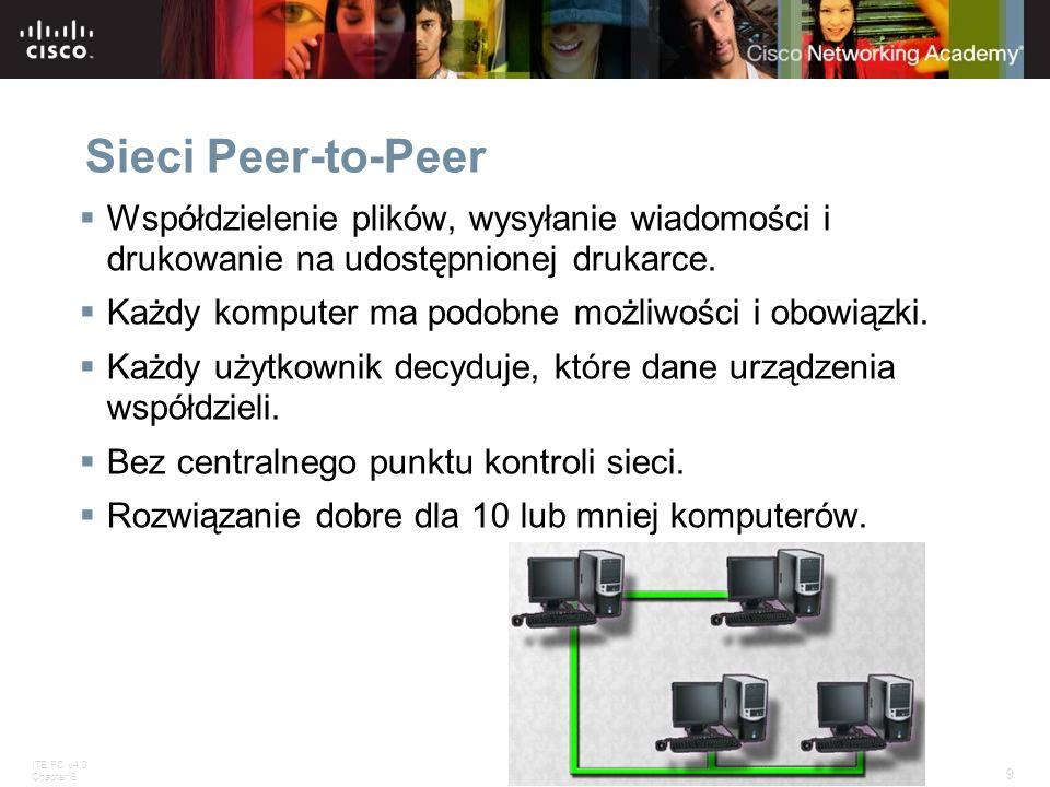 ITE PC v4.0 Chapter 8 9 © 2007 Cisco Systems, Inc. All rights reserved.Cisco Public Sieci Peer-to-Peer Współdzielenie plików, wysyłanie wiadomości i d