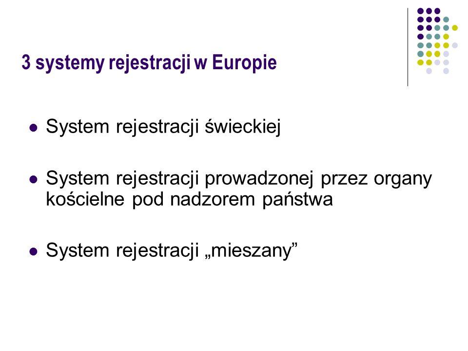 3 systemy rejestracji w Europie System rejestracji świeckiej System rejestracji prowadzonej przez organy kościelne pod nadzorem państwa System rejestr