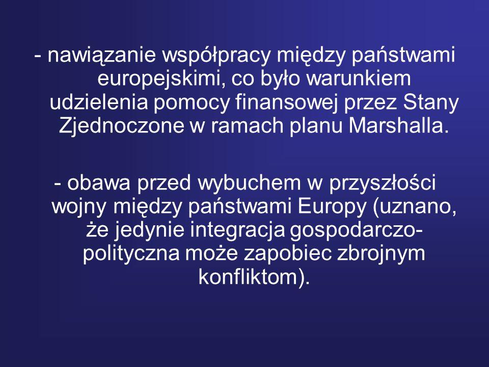 - nawiązanie współpracy między państwami europejskimi, co było warunkiem udzielenia pomocy finansowej przez Stany Zjednoczone w ramach planu Marshalla