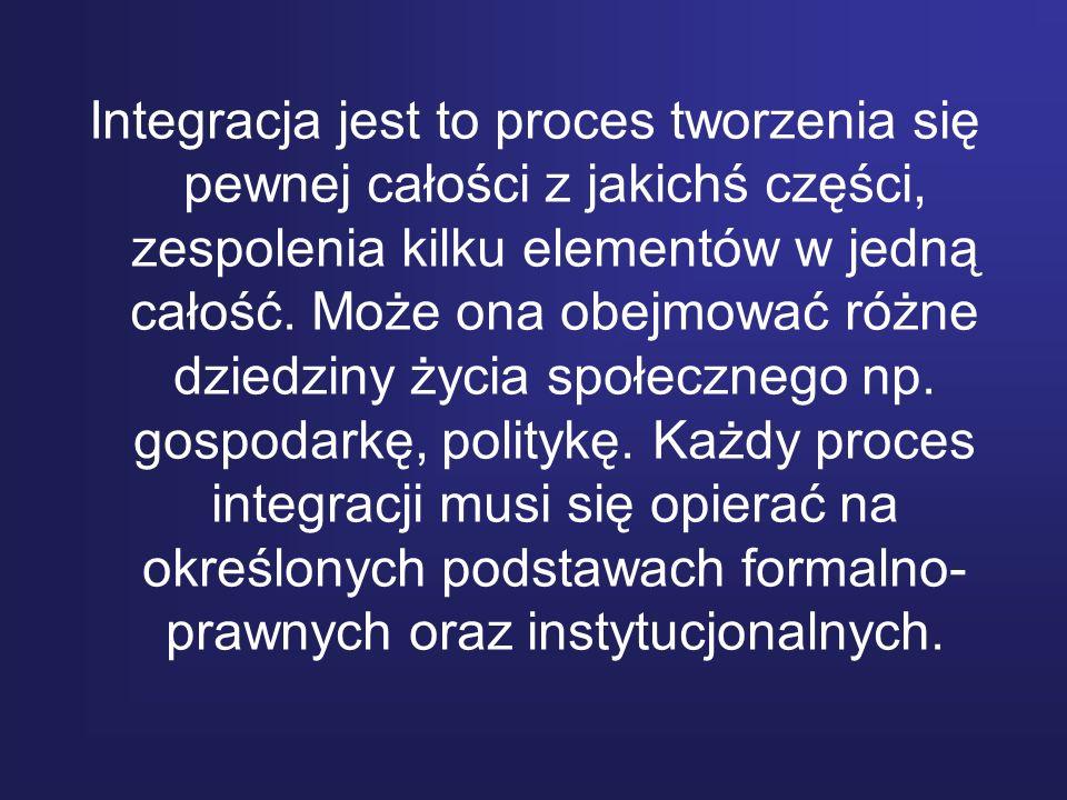 Integracja jest to proces tworzenia się pewnej całości z jakichś części, zespolenia kilku elementów w jedną całość. Może ona obejmować różne dziedziny
